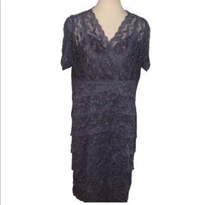 Marina Grey Lace/Sequin Layered Dress.  Size 16W
